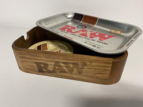 RAW 19336 Cache Box - Caja para caché (tamaño pequeño, con bandeja y cenicero de metal, madera)