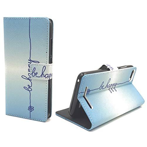 König Design Handyhülle Kompatibel mit Wiko Lenny 3 Handytasche Schutzhülle Tasche Flip Hülle mit Kreditkartenfächern - Be Happy Blau