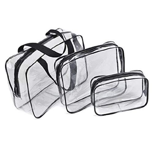 Fliyeong 3-teilige transparente Aufbewahrungstasche, tragbar, faltbar, für Reisen, Kulturbeutel, Kosmetiktasche für Damen, kreativ und nützlich