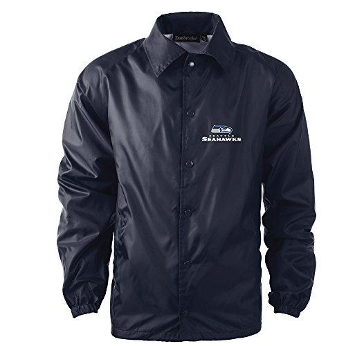 Dunbrooke Apparel Men's Coaches Jacket, Navy, 2X, Seattle Seahawks