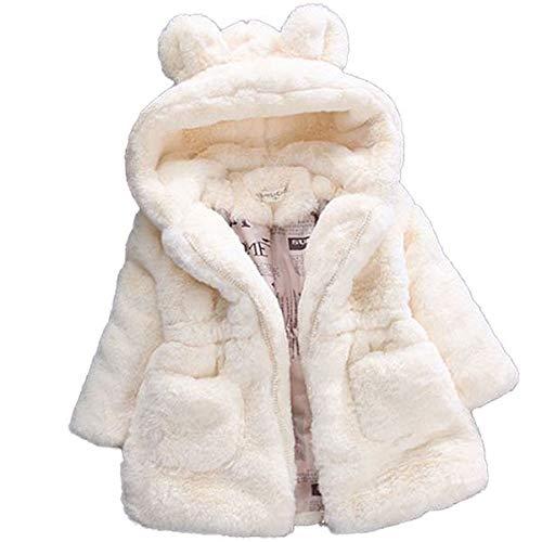 YHSW Chaqueta, Chaqueta cálida para niña de invierno 2021 Nuevo estilo, Fiesta de lana, Chaqueta para la nieve, Chaqueta con capucha 7 Blanco