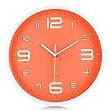 Lafocuse Reloj de Pared Naranja Vibrante Números 3D Grandes Reloj de Cuarzo Silenciosos Modernos sin Ruido Decorativo para Cocina Dormitorio Salon