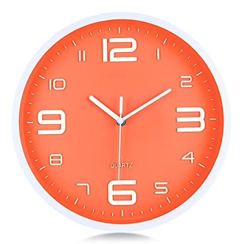 Lafocuse Reloj de Pared Naranja Vibrante...