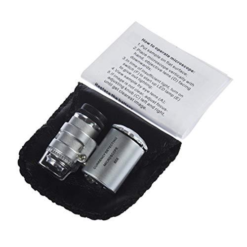 Kaemma Monokulares Handmikroskop 60-facher Zoom LED-Mikroskop Silberne Linse Schutzhülle 3 x LR1130 Batterieglas(Color:Silver)