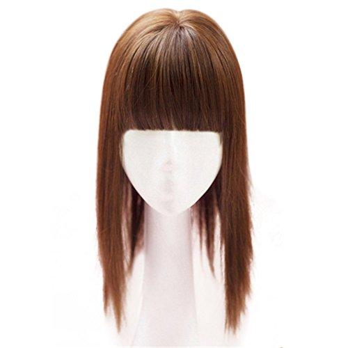 Kunsthaar von Remeehi, 35cm, nahtloser Haarersatz, Mono-Toupet für Haarausfall, Clip in Haar, Topper mit flachem Pony