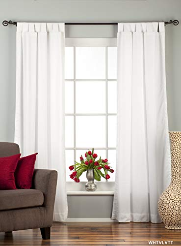 Indian Selections White Tab Top Velvet Curtain/Drape/Panel - 43W x 84L - Piece
