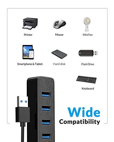 ORICO 4 Port USB 3.0 Hub Ultra Slim Data Hub mit Netzteilanschluss für MacBook, iMac, Surface Pro, XPS, Laptop, Notebook, Flash-Laufwerke, Mobile Festplatte und mehr (Schwarz)