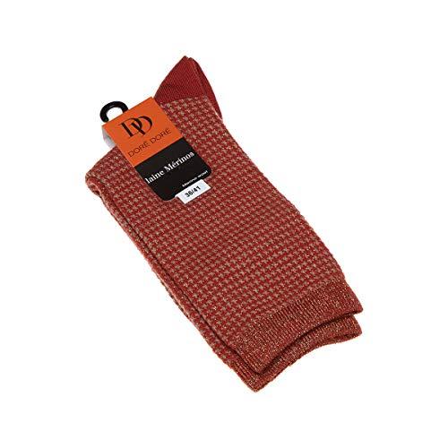 Dore Dore Socke über das Kalb - 1 paar - verstärkte Ferse - Verstarkte zehen - Flachnaht - ohne Frotte - Hahnentrittmuster - Fine - Laine - Orange - DD - 36/41