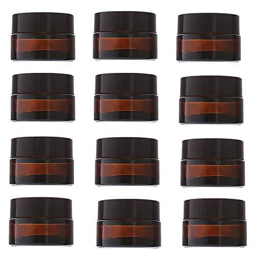 CROSYO 12 unids 20 g de Crema de Vidrio ámbar frascos de Embalaje cosmético con Tapa de plástico Negro y Forros internos Redondo vacío pequeño Bote de Vidrio (Color : Amber, tamaño : 20g)