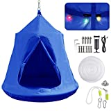 Hanging Tree Tent, Hammock Swing Chair, Portable Tent Play House, with LED Rainbow Lights, Inflatable Cushion, Safety for Adult and Kids Indoor Outdoor, Max Capacity 330LBS (Blue)