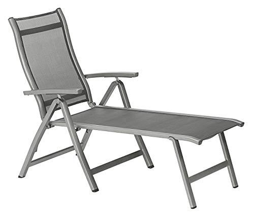 Dehner Relaxliege Chicago, ca. 180 x 80 x 71.5 cm, Textilene/Aluminium, grau
