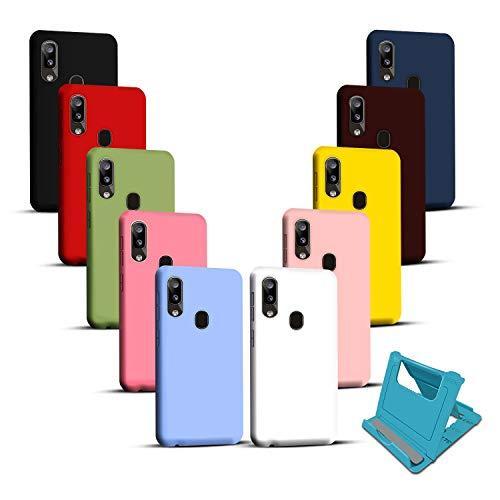 10 Colores Fundas compatibles con Samsung Galaxy A20e + Soporte para teléfono,Carcasa Silicona Suave,Cover TPU de Color sólido anticaída, Resistente arañazos, Funda Protectora Flexible Ultrafina.