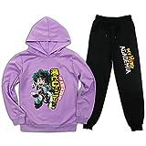 My He-ro A-caDemia - Conjunto de chándal de 2 piezas con capucha y pantalones deportivos para niños y niñas