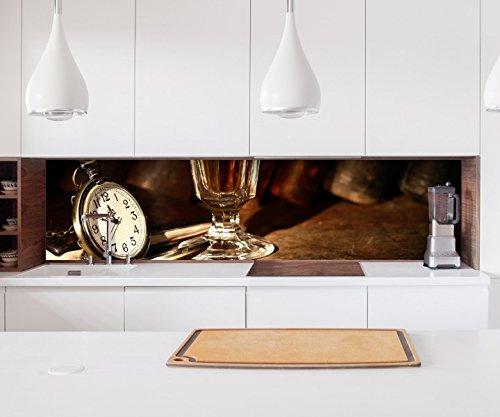 Aufkleber Küchenrückwand Wein Glas Uhr Jahrgang alt Rotwein Likör Folie selbstklebend Dekofolie Fliesen Möbelfolie Spritzschutz 22A1191, Höhe x Länge:70cm x 100cm