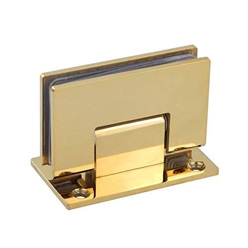 Door hinge Glass Door Bathrooms Gold Stainless Steel 304 Wall Mount Black Glass Shower Door Hinge (90 Degrees Is Open) (Color : GOLD)