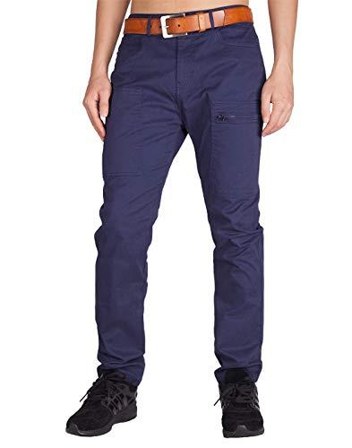ITALYMORN Pantaloni Chino Normali da Uomo Jeans Tasche Cargo con Cerniera vestibilità Regolare (36, Mezzanotte Blu)