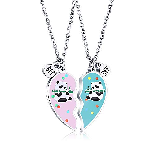 KINGSIN Panda Gifts Bff Best Friend Necklaces for 2 Friendship Panda Necklace for Girls Jewelry Gifts for Women Teen Girls Sisters Daughters Granddaughters