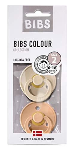 BIBS Colour Chupetes Pack 2 - Sin BPA Caucho Natural - 6-18 Meses (Tamaño 2) - Peach/Vanilla