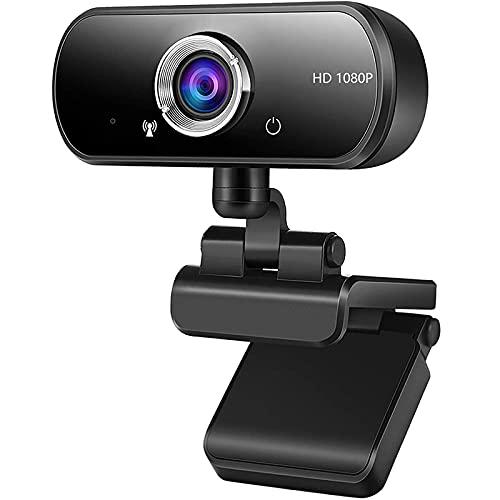 Kdely Webcam 1080P Full HD con Micrófono Estéreo, Streaming Cámara Web con Cubierta de Privacidad para Video Chat y Grabación, Portátil USB Camera Compatible con Windows y Mac para PC/Skype/Zoom