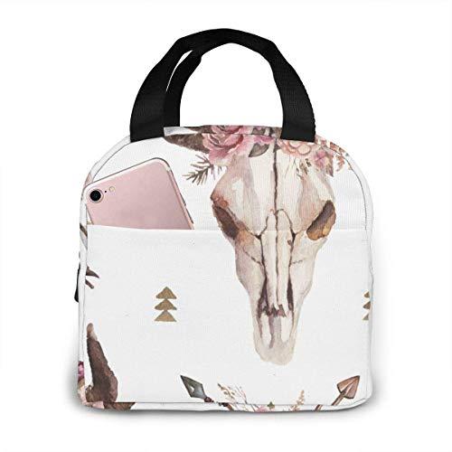 Bolsa de almuerzo con diseño de calavera de vaca, boho, flechas, calavera, calavera, para mujer, contenedor aislado para el almuerzo