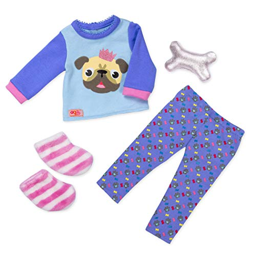 Our Generation BD30390Z Puppen Outfit Pyjama Mops-Print, Bunt