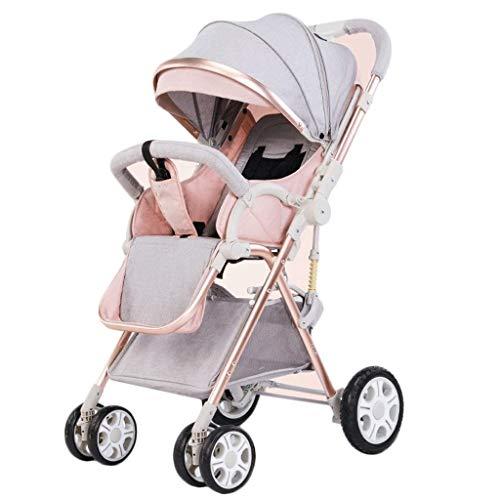 LAZ Leichter Kinderwagen, schlanker und vielseitiger zusammenklappbarer Kinderwagen, übergroßer Aufbewahrungskorb, Reise-Cynebaby-Kinderwagen-Stubenwagen (Color : Pink)