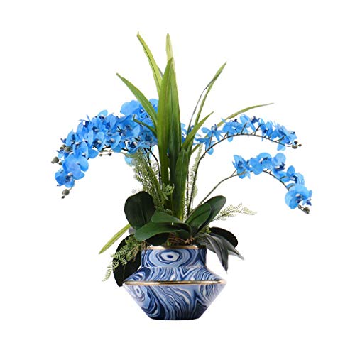 WGGTX Artificial flower Fake Potted Plants Gold-plated Blue Striped Ceramic Vase Simple Overall Floral Ornaments Artificial Flower Simulation Plant Home living room bedroom hotel