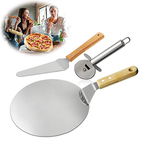 Pizza Cutter + Pizza Peel + Pizza Shovel Pizza Server, TedGem 3 in 1 Pizza Paddle with Wooden Handle 430 Stainless Steel for Baking Homemade Pizza and Bread Pies & Cookies Cake