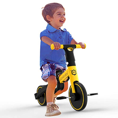 Baby Balance Bikes, Kids Balance Trainer Cute Toddler Bicycle 5-in-1 multifunctional toddler bike for 1-5 years old children Best Choice as First Bike or Birthday Gift (Maximum load 55lbs, Yellow)