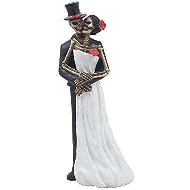 Spooky Skeleton Bride and Groom Wedding Couple Statue for Halloween Party Decorations or Scary Gothic Décor Figurines As Wedding Gifts for Couples