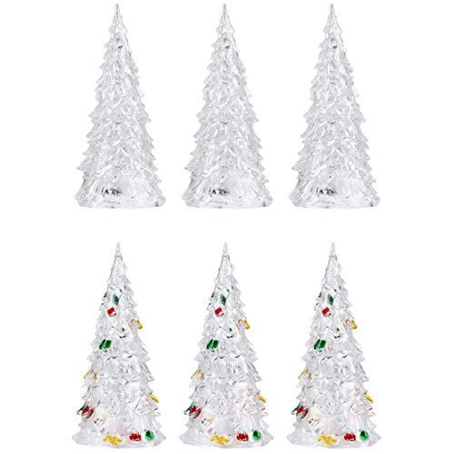 TOYANDONA 6 Unids Led Árbol de Vacaciones de Navidad Que Cambia de Color Led Acrílico Árbol de Navidad para Centros de Mesa Manto Decoración de La Oficina en Casa
