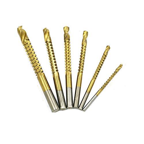 OxoxO Titanium Twist Drill Bits Set Saw Metal Drilling,HSS 6 Piece Routing Hacksaw Drill Bit Set.
