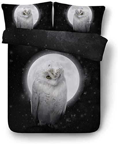 LJHHHH Funda nórdica Búho Animales Luna Negro Blanco 220 x 240 cm Juego de Ropa de Cama Poliéster impresión Digital 3D para niños Adultos con