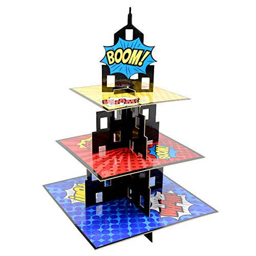 KALEFO Superhero Party Supplies Cake Stand 3 Tier Cupcake Stand Superhereo Party Favors Mini Cupcake Stand for Birthday Party Decorations