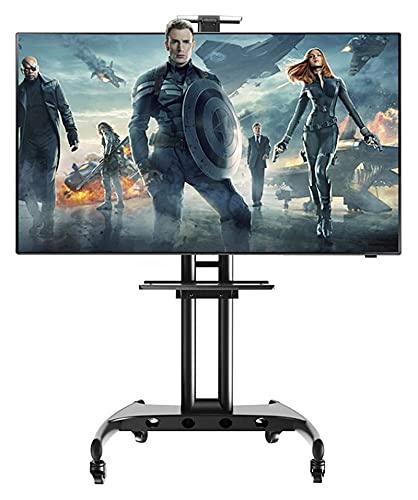 Soporte de TV para carrito de TV móvil para 32 a 70 pulgadas, altura ajustable, carrito de visualización de gestión de cables (color negro)