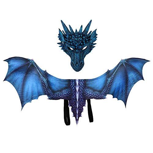 Máscara de disfraz de dragón de Juego de Trono con alas para adultos, disfraces de Halloween para mujeres, hombres, adultos, máscaras de látex de dinosaurio