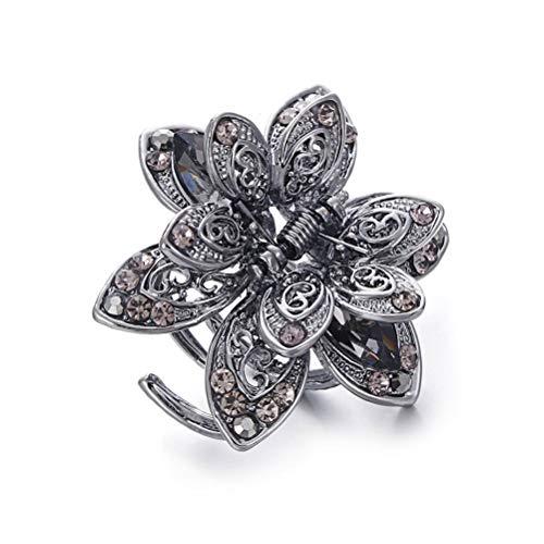 Frcolor 1 Stück Kleine Kristall Schmetterling Blume Haargreifer Clips Vintage Metall Hair Jaw Clips Kein Schlupf Haar Griff für Mädchen und Frauen (Zufällige Farbe)