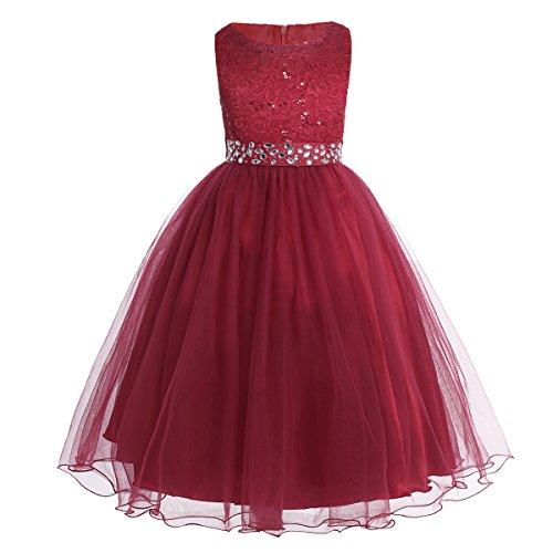 IEFIEL Vestido de Ceremonia Niña Vestido de Princesa Elegante Vestido de Boda Fiesta Bautizo Vestido Largo/Corto de Flores Encaje Floreado
