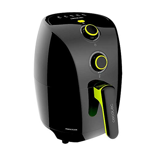 Cecotec Freidora dietética sin Aceite compacta Cecofry Compact Rapid Black. Capacidad para 400 gr de Patatas, Temperatura 200ºC, Tiempo Ajustable 0-30 min, Incluye recetario