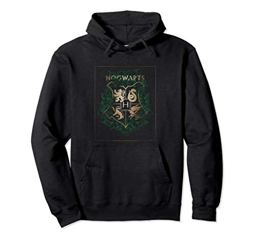 Harry Potter Hogwarts Green and Gold Floral Crest Pullover Hoodie