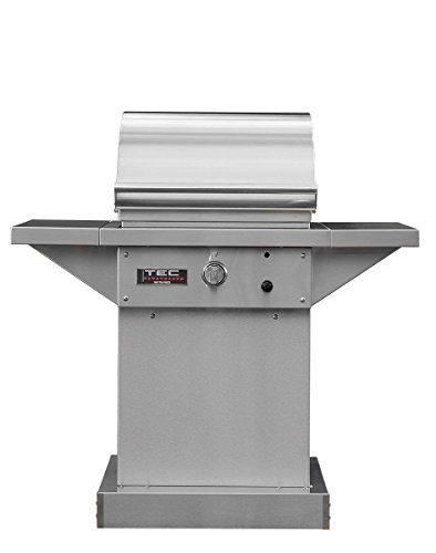 TEC Sterling Patio 1 FR Infrared Grill on Stainless Steel Pedestal with Two Side Shelves and Warming Rack (STPFR1LPPED-PFR1WR), Propane Gas