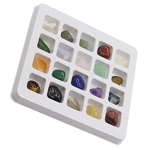 Rekkles 20pcs Pulido Piedras Naturales de Piedra cristalino de la Muestra Conjunto Natural Decoración Crafts Kit de Recogida Surtido Conjunto