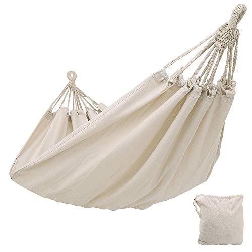 KEPEAK Hamaca de algodón para interior y exterior, 300 x 150 cm, capacidad de carga de 300 kg, ideal para excursiones de mochila, camping, patio trasero, jardín, color blanco