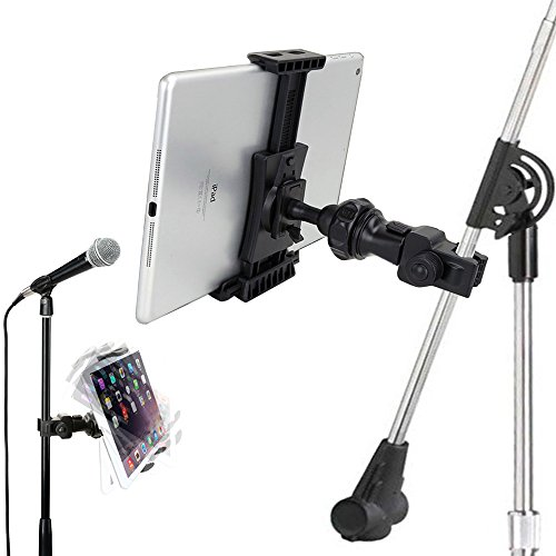 AccessoryBasics QuickLock Microphone Music Mic Stand Pole bar Mount for Apple ipad Pro Air Mini Galaxy Tab S20 S21 iPhone 12 11 Pro SE XR XS MAXuse with All 7-12 Tablet & Smartphones