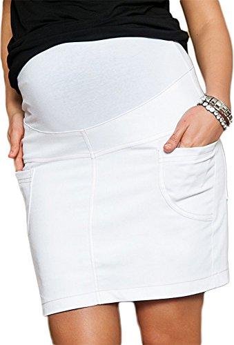 Mija - Gonna Denim Jeans Causal Premaman e Gravidanza 9060 (IT 46, Bianca)