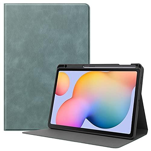Funda Protectora para Samsung Galaxy Tab S6 Lite 10.4 '' Modelo 2020 Sm-p610 (wi-fi) Sm-p615 (LTE), Cubierta Trasera De TPU Suave Multiángulo, Función De Despertador/Suspensión Automático,Verde