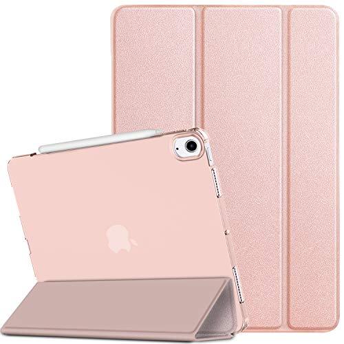 EasyAcc Hülle Kompatibel mit iPad 10.9/ iPad Air 4 2020, Ultra Dünn Transluzent Matt Rückseite Abdeckung mit Auto aufwachen/Schlaf Funktion (Roségold)