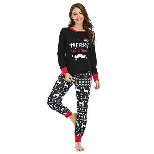 FDJIAJU Nachtwäsche Für Frauen,Weihnachten Schwarz Pjs Sleepwear Lange Hose &Amp; Xmas Print T-Shirt Set Jogging Homewear Teddy Warm Soft Loungewear Nachtwäsche Für Weihnachten Geschenk Damen Outfit