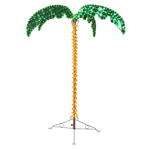 4.5' Deluxe Tropical LED Rope Light Palm Tree with Lighted Holographic Trunk and Fronds
