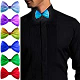 Light Up Bow Tie, Rechargeable - Normal Size LED Glowing Tie- All Color Settings In One -Gift Box Included